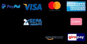 Auf der Grafik sind alle Zahlungsmethoden abgebildet, mit denen du deine Hängematte bestellen kannst