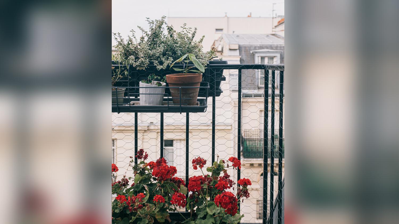Hier zu sehen ist ein Balkon, auf dem eine Hängematte aufgehängt werden kann