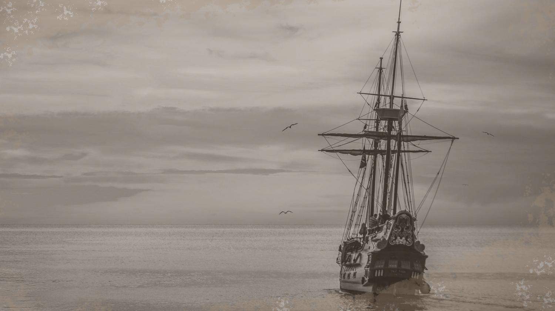 Dieses Bild zeigt eine altes Schiff auf See