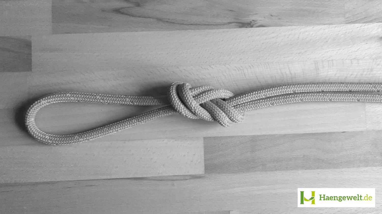 Hier siehst du eine Anleitung, wie man einen Doppelten Achter Knoten legt