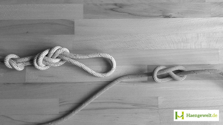 Auf dem Bild siehst du einen gestochenen Doppelten Achter Knoten für Hängematten