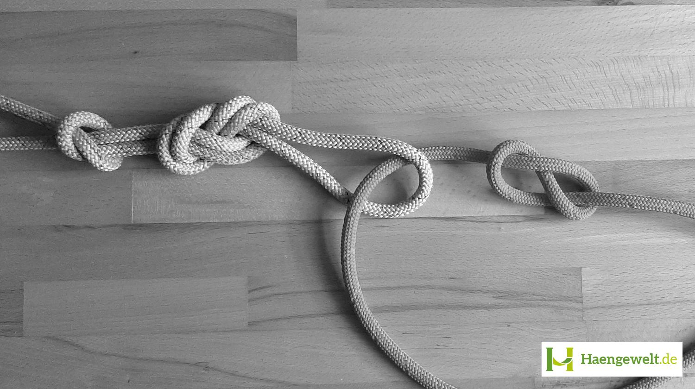 Hier ist ein gestochener Doppelter Achter Hängematten Knoten zu sehen