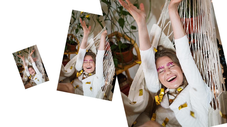 Dies ist ein Bild, auf dem eine Frau den Tag der Hängematte feiert